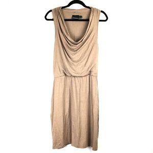 Cynthia Rowley Brown Cowl Neck Racerback Dress